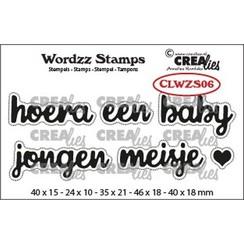 CLWZS06 - Crealies Clearstamp Wordzz Hoera een baby (NL)  46x18mm