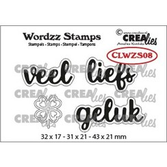 CLWZS08 - Crealies Clearstamp Wordzz Veel liefs (NL)  43x21mm