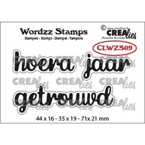 Crealies CLWZS09 - Crealies Clearstamp Wordzz Hoera getrouwd (NL)  71x21mm