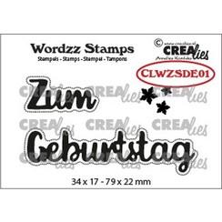 CLWZSDE01 - Crealies Clearstamp Wordzz Zum Geburtstag (DE)  79x22mm