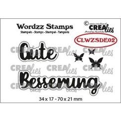 CLWZSDE02 - Crealies Clearstamp Wordzz Gute Besserung (DE)  70x21mm