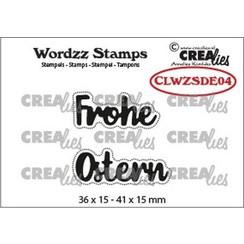 CLWZSDE04 - Crealies Clearstamp Wordzz Frohe Ostern (DE)  41x15mm