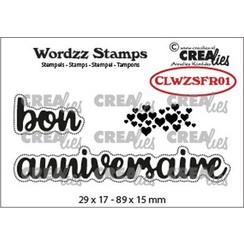CLWZSFR01 - Crealies Clearstamp Wordzz bon anniversaire (FR)  89x15mm