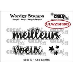 CLWZSFR02 - Crealies Clearstamp Wordzz meilleurs voeux (FR)  42x13mm