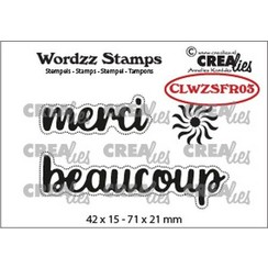 CLWZSFR03 - Crealies Clearstamp Wordzz merci beaucoup (FR)  71x21mm