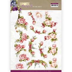 CD11611 - 10 stuks knipvellen - Precious Marieke - Romantic Roses - Pink Rose