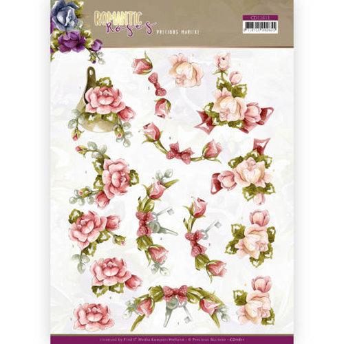 Yvonne Creations CD11611 - 10 stuks knipvellen - Precious Marieke - Romantic Roses - Pink Rose