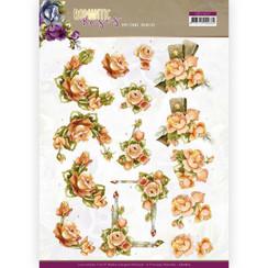 CD11612 - 10 stuks knipvellen - Precious Marieke - Romantic Roses - Orange Rose