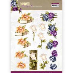CD11614 - 10 stuks knipvellen - Precious Marieke - Romantic Roses - Multicolor Rose