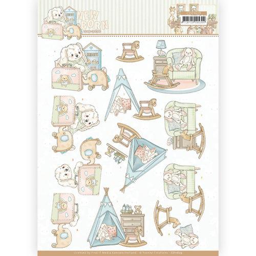 Yvonne Creations CD11629 - 10 stuks 3D Knipvellen - Yvonne Creations - Newborn - Baby Rocking Horse