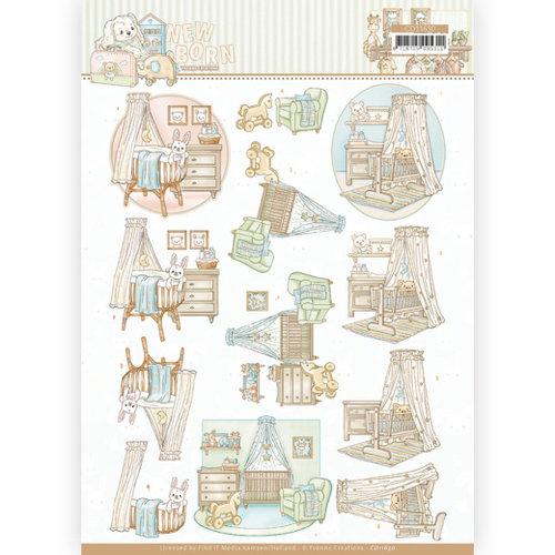 Yvonne Creations CD11630 - 10 stuks 3D Knipvellen - Yvonne Creations - Newborn - Baby Cradle