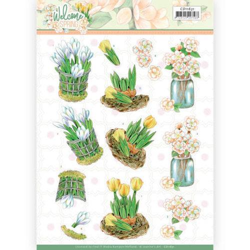 Jeanines Art CD11631 - 10 stuks knipvel - Jeanines Art  Welcome Spring - Yellow Tulips