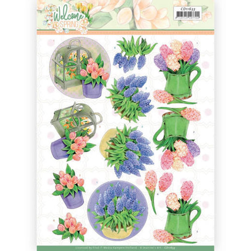 Jeanines Art CD11633 - 10 stuks knipvel - Jeanines Art  Welcome Spring - Hyacinth