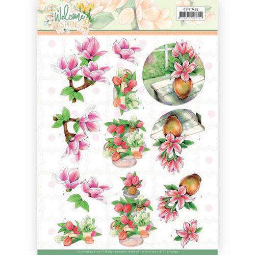 Jeanines Art CD11634 - 10 stuks knipvel - Jeanines Art  Welcome Spring - Pink Magnolia