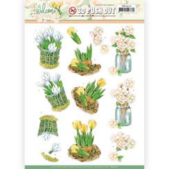 SB10527 - Uitdrukvel - Jeanines Art  Welcome Spring - Yellow Tulips