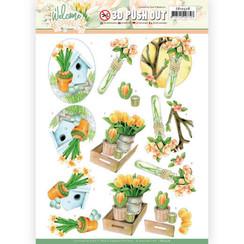 SB10528 - Uitdrukvel - Jeanines Art  Welcome Spring - Orange Tulips