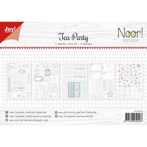 Joy!Crafts 6011/0423 - Joy! Crafts Labelvellen/knipvel  - Noor - Tea Party A4 - 190/240 gr