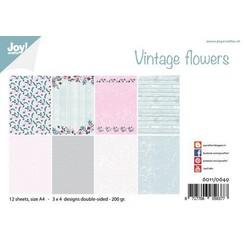 6011/0649 - Joy! Crafts Papierset - Design Vintage Flowers A4 - 200 gr