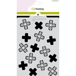 CraftEmotions Mask stencil Get well - pleisters - kruis A6 Carla Creaties