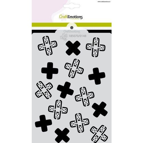 CraftEmotions CraftEmotions Mask stencil Get well - pleisters - kruis A6 Carla Creaties