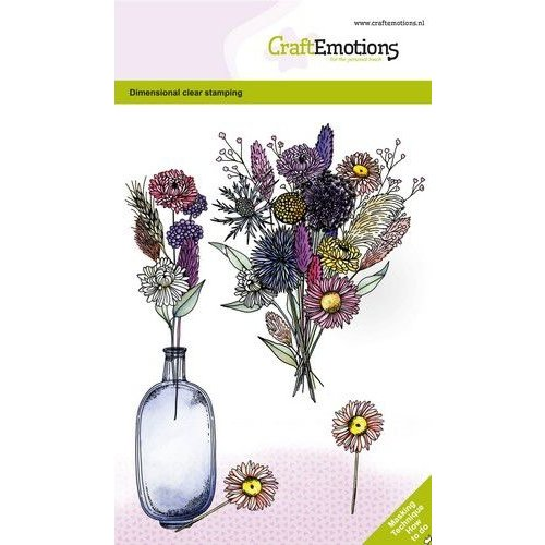 CraftEmotions CraftEmotions clearstamps A6 - Droogbloemenvaas 2 GB Dimensional stamp
