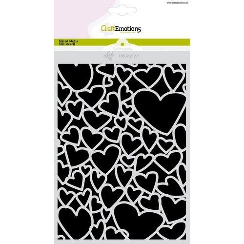 CraftEmotions CraftEmotions Mask stencil Love Puns - harten A5 Carla Creaties