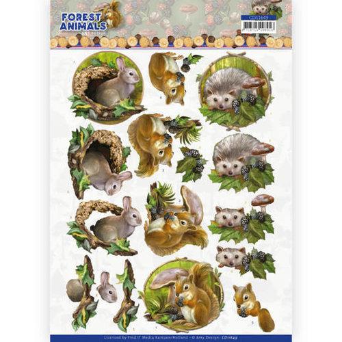 Amy Design CD11649 - 10 Knipvellen - Amy Design  Forest Animals - Rabbit