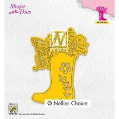 Nellies Choice Shape Die - Laars met bloemen SD198 66x68mm
