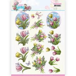 CD11653 - 10 stuks knipvel - Amy Design - Enjoy Spring - Bouquets of Tulips