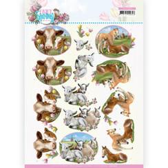 CD11656 - 10 stuks knipvel - Amy Design - Enjoy Spring - Farm Animals