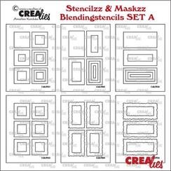 Crealies Stencilzz/Maskzz 6x Rechthoek glad en ruwe randen CLSTMBLSETA 10,5 x 15 cm