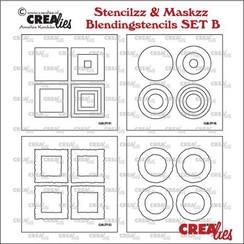 Crealies Stencilzz/Maskzz 4x Vierkant glad en ruwe randen CLSTMBLSETB 14,5 x 14,5 cm