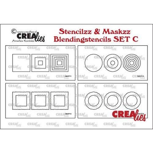 Crealies Crealies Stencilzz/Maskzz 4x Slimline glad en ruwe randen CLSTMBLSETC 21 x 10,5 cm