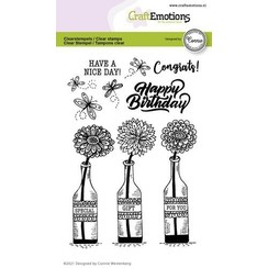 CraftEmotions clearstamps A6 - flessen - Special gift for you Connie Westenberg