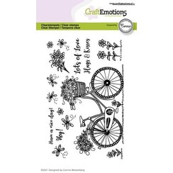 CraftEmotions clearstamps A6 - fiets - Have a nice day Connie Westenberg