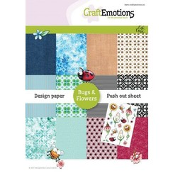 CraftEmotions Design Paper Bugs & flowers 12 vel + push out vel - A5 A5 12+1