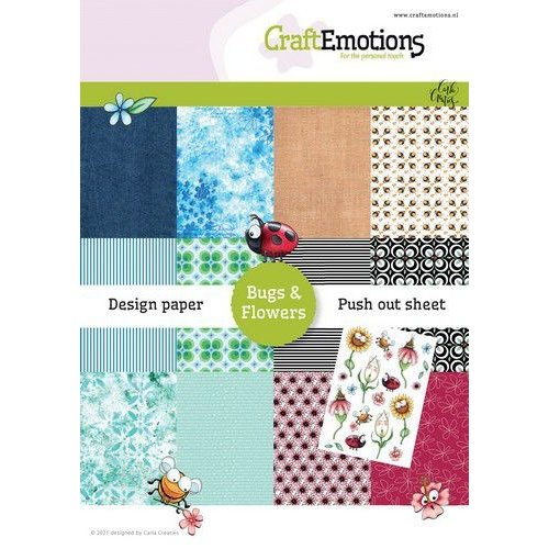 CraftEmotions CraftEmotions Design Paper Bugs & flowers 12 vel + push out vel - A5 A5 12+1