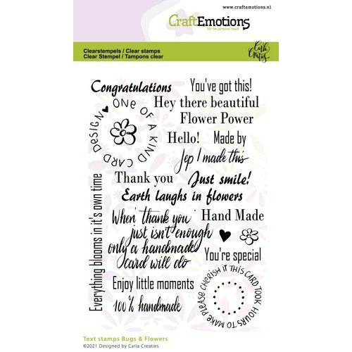 CraftEmotions CraftEmotions clearstamps A6 - Bugs & flowers tekst (Eng) Carla Creaties