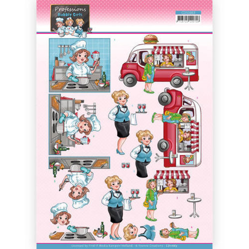 CD11663 - 10 stuks knipvel - Yvonne Creations - Bubbly Girls Professions - Catering