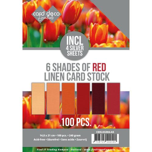 CDELKG004-A5 - Voordeelpakket - 6 Tinten rood - 100 vel - A5