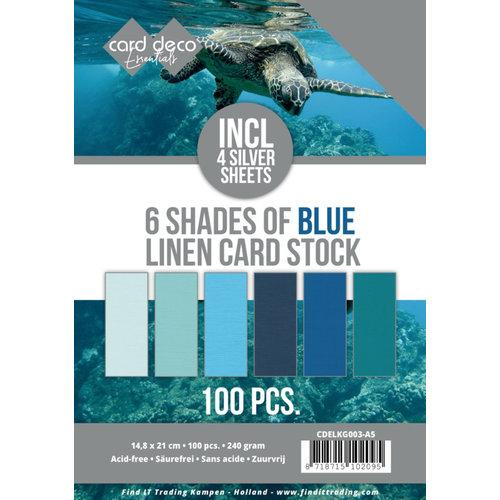 CDELKG003-A5 - Voordeelpakket - 6 Tinten blauw - 100 vel - A5