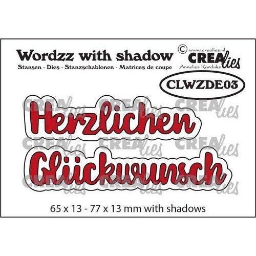 Crealies Wordzz with Shadow Herzlichen Glückwunsch (DE) CLWZDE03 77x13mm