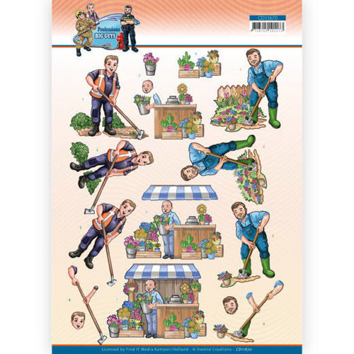 Yvonne Creations CD11670 - 10 Stuks Knipvel - Yvonne Creations - Big Guys Professions - Gardener