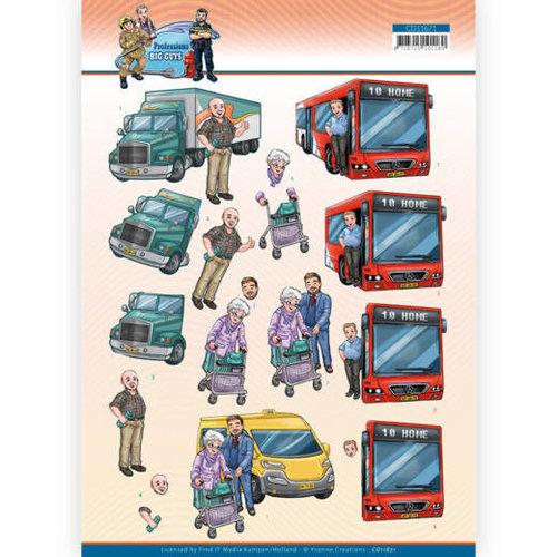 Yvonne Creations CD11671 - 10 Stuks Knipvel - Yvonne Creations - Big Guys Professions - Bus Driver