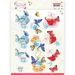 CD11659 - 10 stuks knipvel - Jeanine's Art - Butterfly Touch - Blue Butterfly