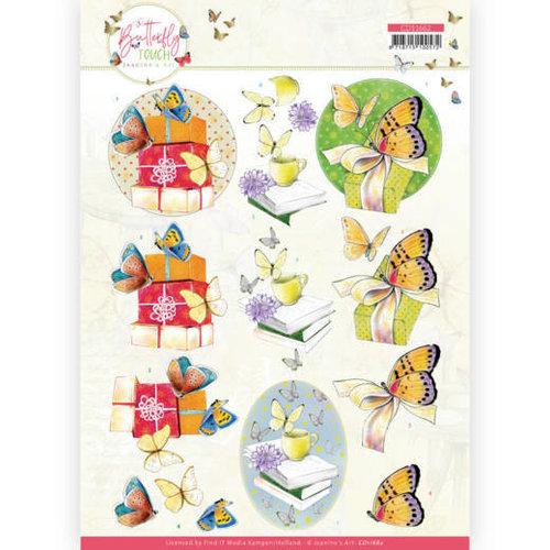 CD11662 - 10 stuks knipvel - Jeanine's Art - Butterfly Touch - Yellow Butterfly