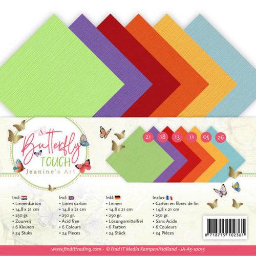 JA-A5-10013 - Linen Karton pakket - A5 - Jeanine's Art - Butterfly Touch