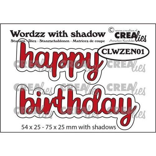 Crealies Wordzz with Shadow Happy Birthday (ENG) CLWZEN01 75x25mm