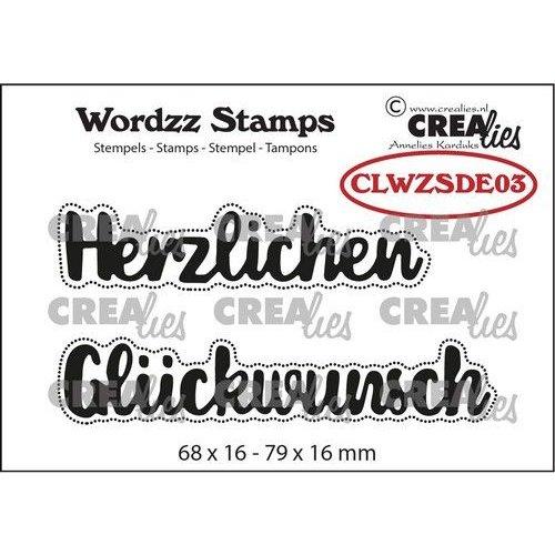 Crealies Clearstamp Wordzz Herzlichen Glückwunsch (DE) CLWZSDE03 79x16mm