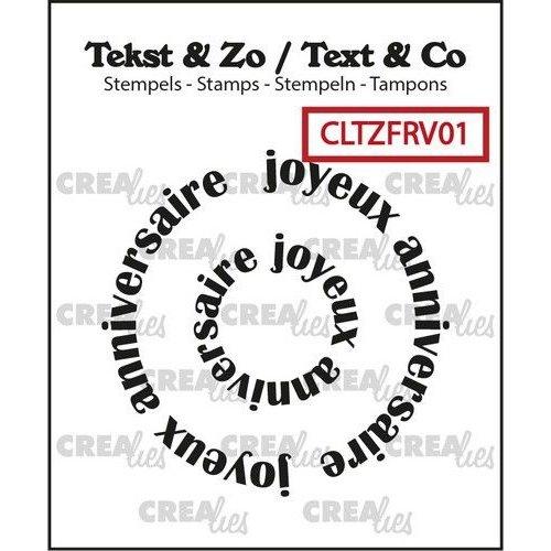 Crealies Clearstamp Tekst & Zo Rond: joyeux anniversaire (FR) CLTZFRV01 42x42mm